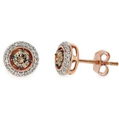 Jewelry Point - 0.52ct Champagne-Brown Diamond Stud Earrings 14k Pink Rose Gold, $539.00 (http://www.jewelrypoint.com/0-52ct-champagne-brown-diamond-stud-earrings-14k-pink-rose-gold/)