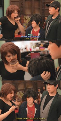Big Hero 6 Aunt Cass's Stress Eating to Hiro Hamada and Tadashi cosplay