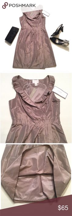 """J. Crew Silk Dress Brand new with tag. Size 2. Color Faw. Bust approx 32/33"""". Length approx 36"""". Fully lined. 100% silk. Lining 100% polyester J. Crew Dresses Mini"""
