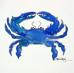 Chesapeake Bay Blue Crab Watercolor Print  9 by 12 by lauratrevey, $18.00