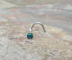 Blue Green Fire Opal Nose Ring Stud by MidnightsMojo on Etsy, $10.00