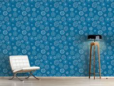 Design #Tapete Blümchen Blues