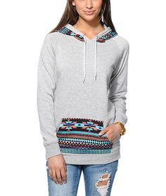 Mix up your basic hoodie look and add the Long Beach Tribal Print pullover hoodie from Empyre Girl to your wardrobe. Built with a slim, longer fit in a Heather Grey colorway, this tunic style hooded sweatshirt from Empyre has a colorful native print at th medium