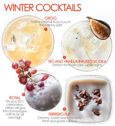 holiday cocktails :: FIG + VANILLA-INFUSED VODKA 1 liter bottle Vodka (like Ketel One) 1/2 pound dried figs 1/2 Vanilla bean, cut in half lengthwise Pour all the ingredients in a pitcher and let stand for 1 week. Pour back into the bottle, discard figs and vanilla beans. Serve on the rocks in a tumbler with 1/2 fresh fig as garnish.