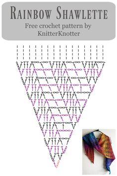 Crochet Shawl Diagram, Crochet Motif, Crochet Afgans, Free Crochet, Crochet Shawls And Wraps, Crochet Scarves, Crochet Stitches Patterns, Shawl Patterns, Rainbow Crochet