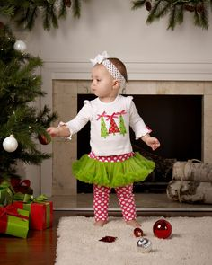 This pretty and festive Triple Christmas Tree Shirt & Tutu Leggings Set is perfect for the Holiday Season Little Girl Skirts, Little Girl Outfits, Cute Outfits For Kids, Cute Kids, Newborn Girl Outfits, Tutu Outfits, Christmas Tutu, Christmas Crafts, Merry Christmas