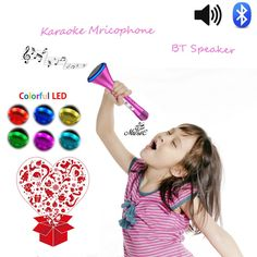 KOMVOX Portable Microphone Wireless Karaoke Speaker with Bluetooth Player Connecting to IPhone or Samsung Smartphone for Kids Gift and Family Party (RosePink)