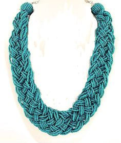 Necklaces- Teal Braided Bead Necklace- Woven Bead Wide Necklace-Green Multilayer Seed Bead Necklace made by @. Amazing like our sunroom furniture .