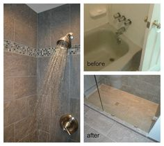We gave an older bathroom a new style by removing the bathtub and replacing it with a large tiled walk-in shower.