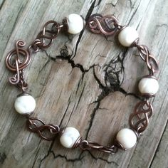 Mother of Pearl Celtic Knot Antique Copper Wire Work Bracelet | DesignsinCopper - Jewelry on ArtFire