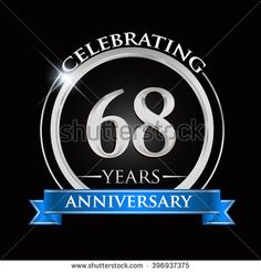 Celebrating 68 years anniversary logo. with silver ring and blue ribbon. - stock vector