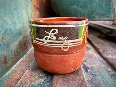 Vintage Tlaquepaque Pottery Mug Earth Tone Colors, Southwest Rustic Home Decor, Shelf Display