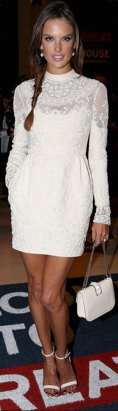Who made Alessandra Ambrosio's white lace dress and studded handbag that she wore in Sao Paulo on June 25, 2014
