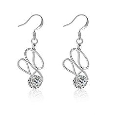 fonk silver plated earing Twisted Stone drop pendientes jewellery ** Be sure to check out this awesome product. Note:It is Affiliate Link to Amazon.