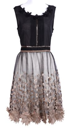 Black Sleeveless Bead Embroidery Applique Dress