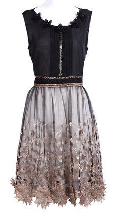 Black Sleeveless Bead Embroidery Applique Dress