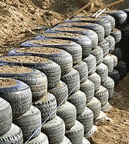 Tyre wall under construction