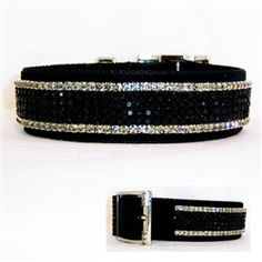 Fancy 1 1/2 inch wide formal large dog collar is black velvet with jet black and black diamond crystals great for weddings.