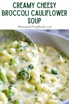 Enjoy this cream of broccoli and cauliflower soup recipe bursting with rich cheesy broccoli flavor. Your family will love this hearty soup and the leftovers are amazing. Cream Of Broccoli Recipe, Broccoli Recipes, Broccoli Cauliflower Soup, Real Food Recipes, Cooking Recipes, Cheesecake Bites, Food To Make, Soups, Salads