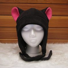 Black / Pink Fleece Cat Ear Aviator Ear Flap Style by Ningen Headwear - $26