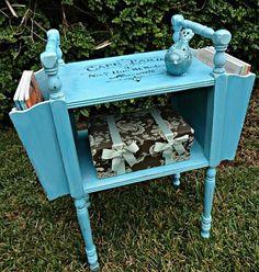 Vintage Magazine Side Table Transformation -- Transform a vintage side table into a beautiful magazine holder  #decoartprojects