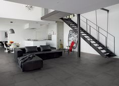 GLANCE COAL 60x60 LIVING , floor design , black and white matching