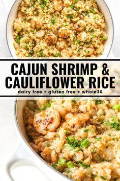 Shrimp Recipes, Paleo Recipes, Low Carb Recipes, Cooking Recipes, Shrimp And Rice, Cajun Shrimp, Clean Eating, Healthy Eating, Cauliflower Recipes