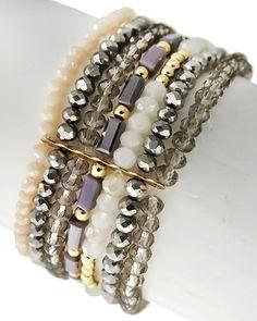 Gold Tone / Black Diamond & Hematite Glass Crystal / Lead&nickel Compliant / Multi Row / Stretch Bracelet