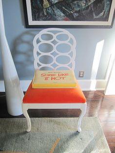 1930s design orange upholstered seat