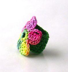 Crochet Ring Fiber Ring Flower Applique by Nothingbutstring