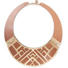 Tory Burch Aislin gold-tone leather necklace ($150) ❤ liked on Polyvore featuring jewelry, necklaces, tan, gold colored necklace, leather necklaces, goldtone jewelry, tory burch jewelry and gold tone necklace
