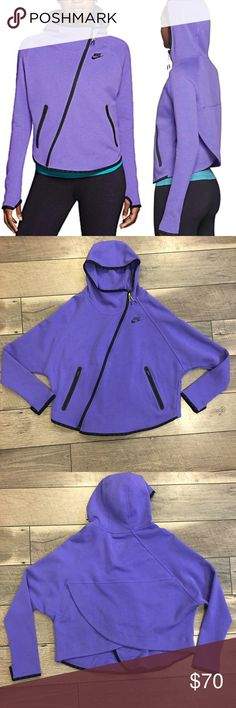 Nike Tech Fleece Butterfly Hoodie - Large - Purple Excellent condition, no flaws! Size large. Beautiful purple color (most true to stock photo).   From Nike:   - Back-neck tape for reduced irritation caused by chafing  - Zippered pockets for secure storage  - Thumbhole cuffs for optional coverage and hand warmth  - Heat-transferred Nike corporate logo on chest  - Fabric: 59% cotton/41% polyester Nike Tops Sweatshirts & Hoodies