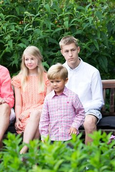 (L-R) Countess Ingrid von Pfeil und Klein-Ellguth with her oldest brother Count Richard von Pfeil und Klein-Ellguth and cousin Prince Vincent of Denmark attend the annual summer Photocall for The Danish Royal Family at Grasten Castle on July 25, 2015 in Grasten, Denmark.