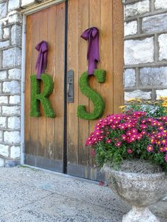 Moss Covered Letters - Inspiration :  wedding green purple inspiration flowers diy Moss Covered Letters 2