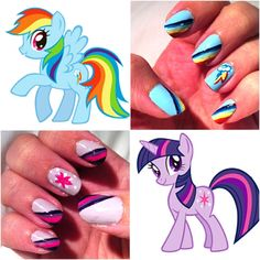 Here are My Little Pony themed nails. On top is Rainbow Dash, and under it is Twilight Sparkle.