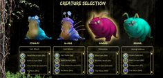 Survival Creature Selection Screen from the new MDBio Foundation STEM learning game