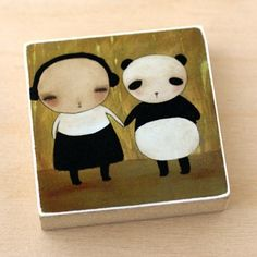 Handmade Gifts | Independent Design | Vintage Goods My Animal Friends Wood Print - Panda - Mother's Day