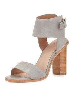 Joie Opal Leather High-Heel City Sandal, Dove