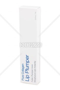 white lip plumper box over white background. - Close-up image of white pure collagen lip plumper over white background.
