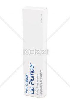white lip plumper box over white background. - Close-up image of white pure collagen lip plumper over white background.