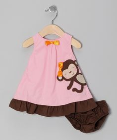 Donita - Pink Monkey Bow Dress - Infant & Toddler   Daily deals for moms, babies and kids