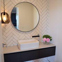 52 Ideas Bath Room Tiles Herringbone Round Mirrors For 2019 Downstairs Bathroom, Bathroom Renos, Laundry In Bathroom, Bathroom Interior, Small Bathroom, Master Bathroom, Bathroom Ideas, Bathroom Pink, Bathroom Modern