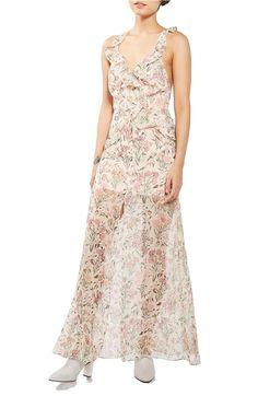 d98d377a812 Main Image - Topshop Floral Ruffle Maxi Dress Beige Maxi Skirts