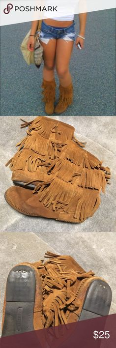Chestnut fringe moccasin boots summer vibes staple The staple piece right here. I think everyone should have a pair a fringe boots. ... I personally have many. Might need a quick wash as they ever been cleaned. Fringe boots for perfects for dusty summer days or long festival nights. Comfy and you can hide things in your ankles. Lol Minnetonka Shoes Moccasins