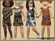 A dress for a girl is a todler in a military style. It is installed autonomously, a new mesh is included. 5 variants of staining. Found in TSR Category 'Sims 4 Toddler Female'