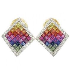 Multicolor Rainbow Sapphire & Diamond Invisible by RainbowSapphire, $1893.00