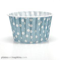 Light Blue Polka Dots Baking or Candy Cups - Polka Dot - Patterns PlatesAndNapkins.com