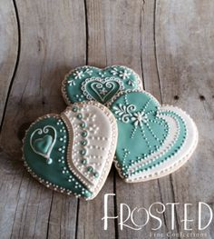 Turquoise heart cookies-can be any color