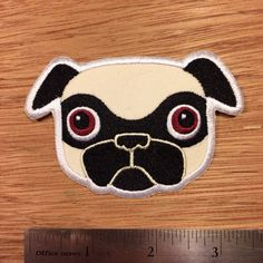 Tricky Fawn Pug Patch by mrwalters on Etsy