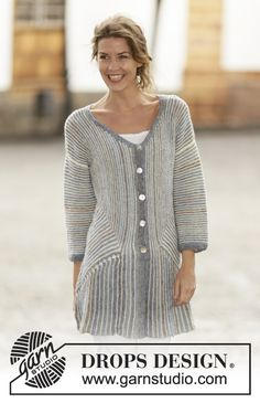 """Knitted DROPS jacket in garter st with stripes and domino squares in """"Fabel"""". Size: S - XXXL. ~ DROPS Design"""
